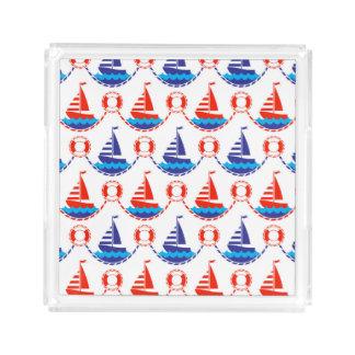 Sail Boat Pattern Acrylic Tray