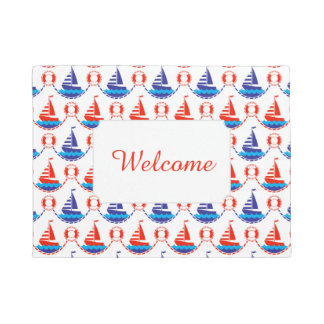 Sail Boat Pattern | Add Your Text Doormat
