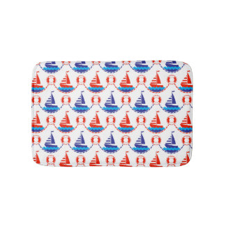 Sail Boat Pattern Bath Mat