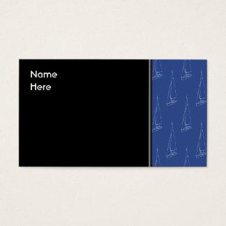 Sail boat pattern. Dark Blue. Business Card