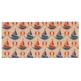 Sail Boat Pattern Wood USB Flash Drive