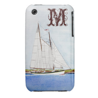 Sail Boat Sailing Ship Monogram IPHONE 3 Cell Case iPhone 3 Case-Mate Case
