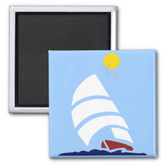 Sail Boat Square Magnet
