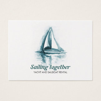 Sail boat watercolor Business Card Template