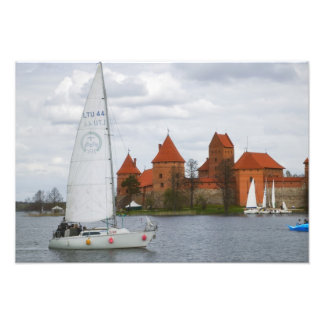 Sail boat with Island Castle by Lake Galve, Photo Print