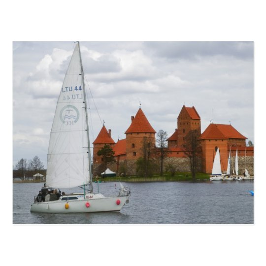 Sail boat with Island Castle by Lake Galve,