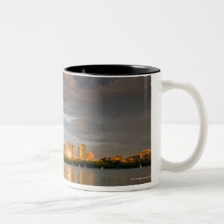 Sail boating on The Charles River at sunset Two-Tone Mug