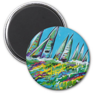 sail boats 6 cm round magnet