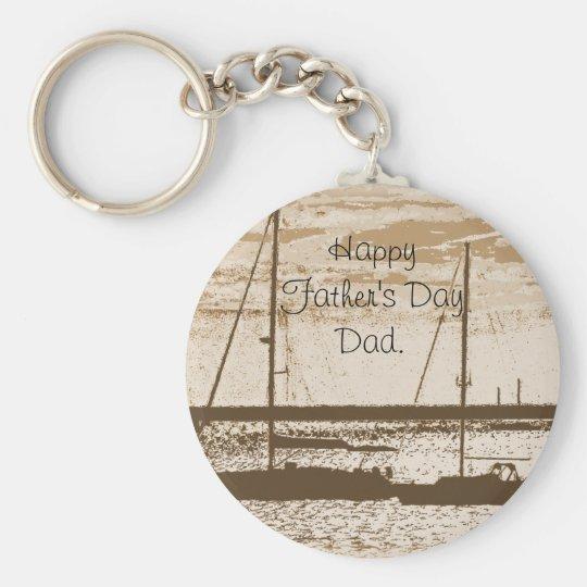 Sail boats at dusk basic round button key ring