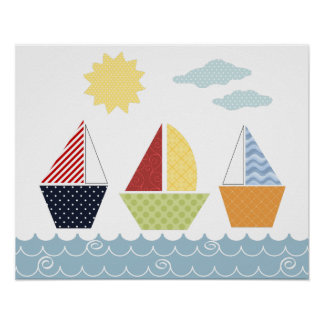 Sail boats poster for children