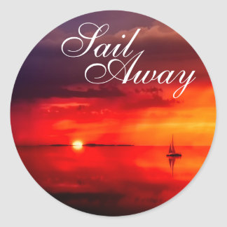 Sail into the Sunset Classic Round Sticker