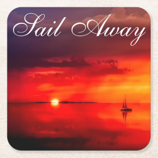 Sail into the Sunset Square Paper Coaster