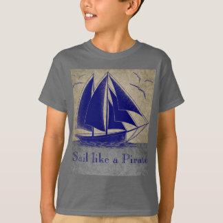 Sail like a pirate, boy nautical, vintage personal tshirts