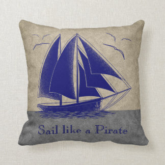 Sail like a pirate, boy's room nautical cushion