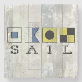 SAIL marble stone coaster - Nautical theme decor