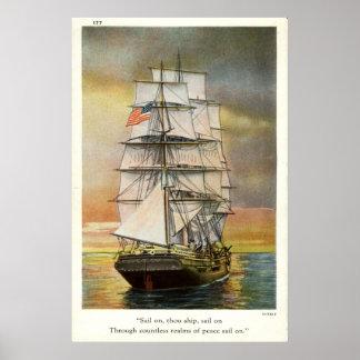 Sail on Thou Ship Vintage 1926 Print