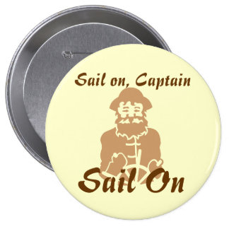 Sail on Yellow and Brown 10 Cm Round Badge