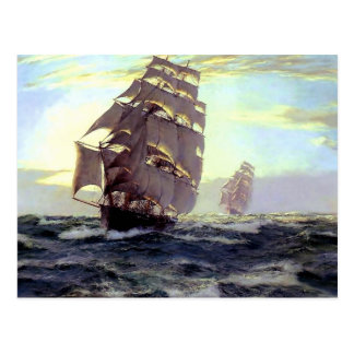 Sail Ship in the Sea painting Postcard