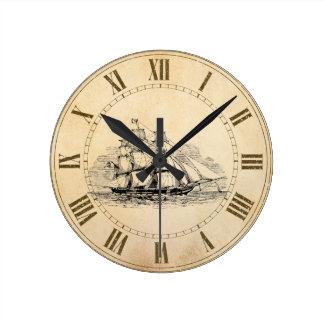 Sail Ship Round Clock