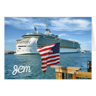 Sailaway with Flag Monogrammed Blank Note Cards