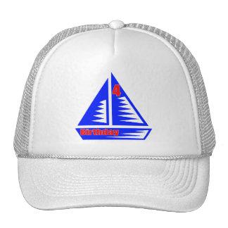 Sailboat 4th Birthday Gifts Trucker Hat