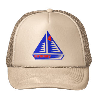 Sailboat 4th Birthday Gifts Trucker Hat