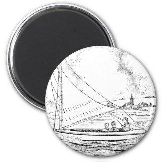 Sailboat 6 Cm Round Magnet