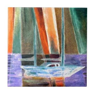 Sailboat Abstract Intangible Sailing Decor Gifts Small Square Tile