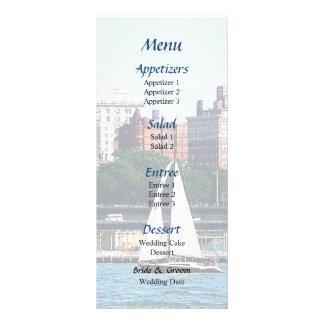 Sailboat Against Manhattan Skyline Wedding Menu Custom Rack Card