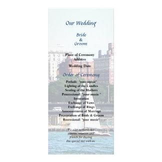 Sailboat Against Manhattan Skyline Wedding Program Rack Card Template