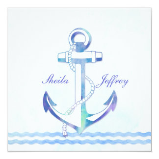 Sailboat Anchor Fancy Nautical Wedding 13 Cm X 13 Cm Square Invitation Card