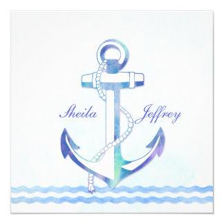 Sailboat Anchor Fancy Nautical Wedding Invitation