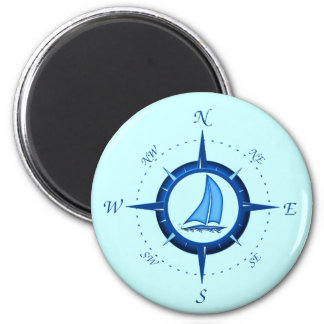 Sailboat And Compass Rose 6 Cm Round Magnet