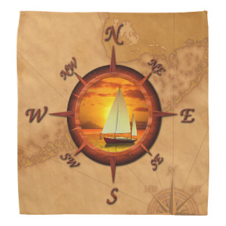 Sailboat And Compass Rose Bandana