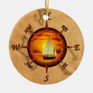 Sailboat And Compass Rose Christmas Ornament