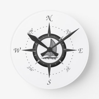 Sailboat And Compass Rose Clocks