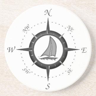 Sailboat And Compass Rose Coaster