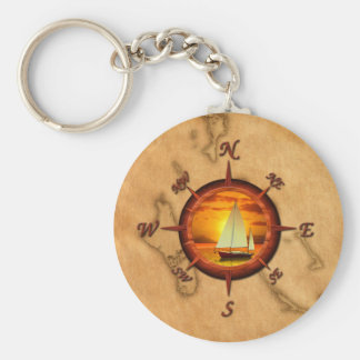 Sailboat And Compass Rose Key Ring