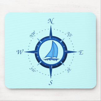 Sailboat And Compass Rose Mouse Mat