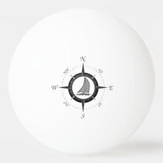 Sailboat And Compass Rose Ping Pong Ball