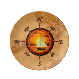 Sailboat And Compass Rose Plate