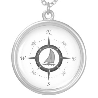 Sailboat And Compass Rose Silver Plated Necklace