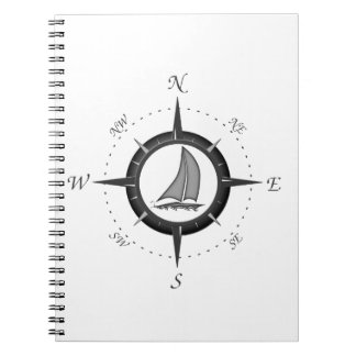 Sailboat And Compass Rose Spiral Notebook