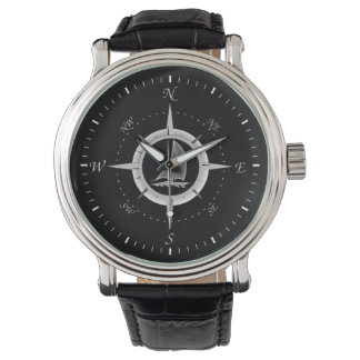 Sailboat And Compass Rose Watch