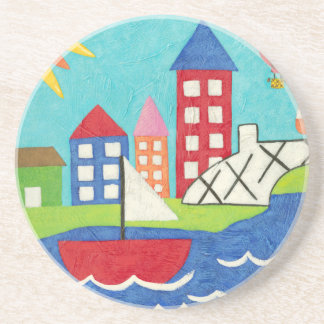Sailboat and Hot Air Balloon with Cityscape Coaster
