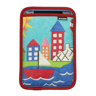 Sailboat and Hot Air Balloon with Cityscape iPad Mini Sleeve