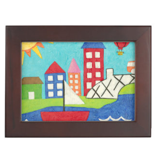 Sailboat and Hot Air Balloon with Cityscape Keepsake Box