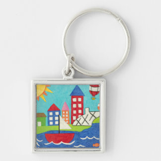 Sailboat and Hot Air Balloon with Cityscape Keychain