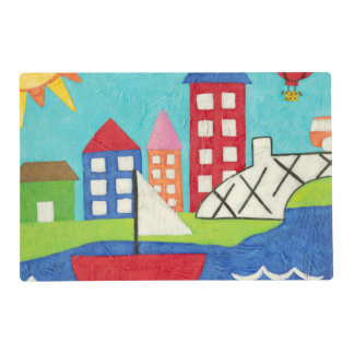 Sailboat and Hot Air Balloon with Cityscape Laminated Place Mat