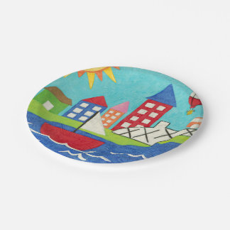 Sailboat and Hot Air Balloon with Cityscape Paper Plate